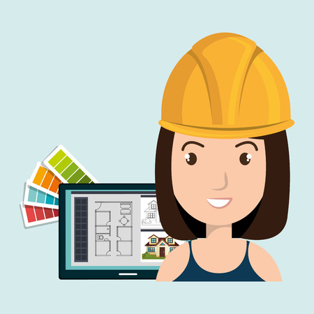 woman architecture tools plans vector illustration graphic