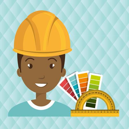 man helmet rules color vector illustration graphic Illustration