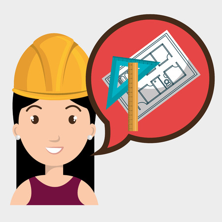 rule: woman architecture rule plans vector illustration graphic