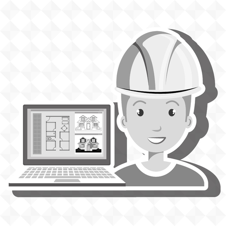 man with laptop: man laptop helmet tools vector illustration graphic