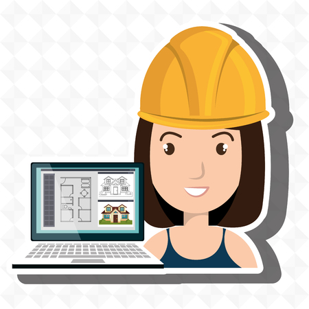 woman architecture laptop plans vector illustration graphic Illustration