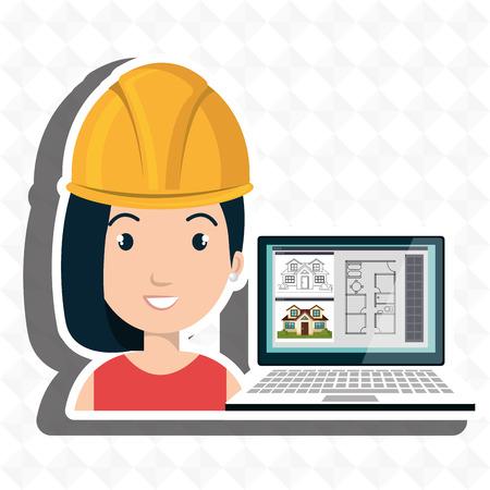 hair roller: woman architecture laptop plans vector illustration graphic Illustration