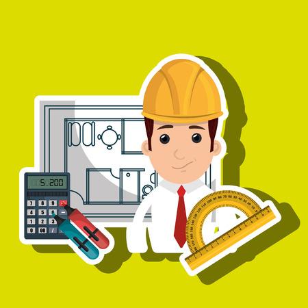 man tablet helmet tools vector illustration graphic