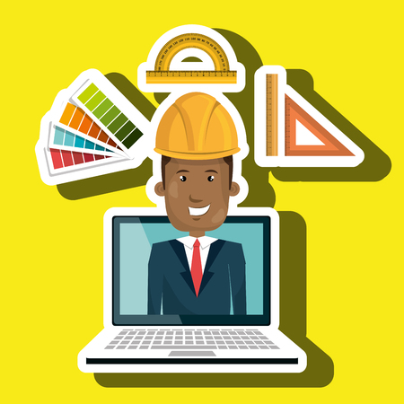 man laptop helmet tools vector illustration graphic