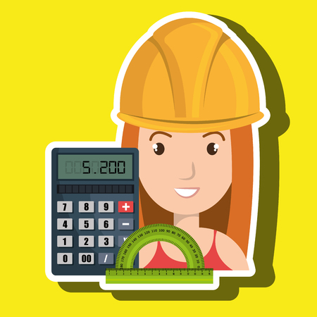 woman architecture calculator rule vector illustration graphic Illustration