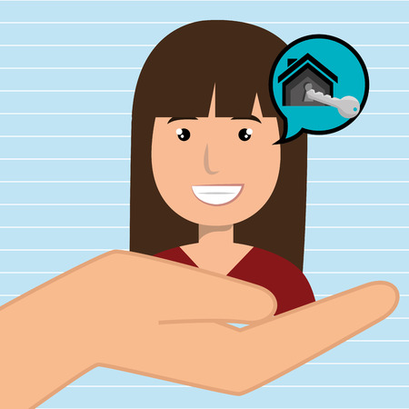 home owner: woman hand house key vector illustration