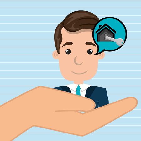 home owner: man hand house key vector illustration Illustration