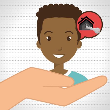 hand key: man hand house key vector illustration Illustration