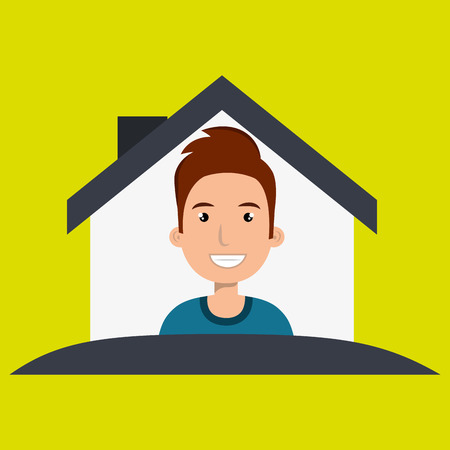 home owner: man house insurance red vector illustration graphic Illustration