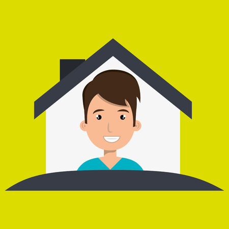 front of house: man house insurance red vector illustration graphic Illustration