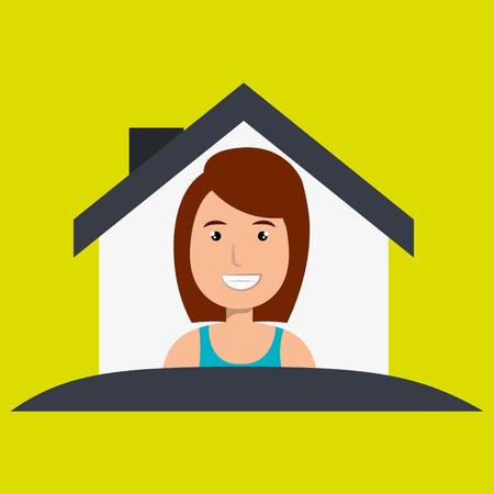 woman hand house key vector illustration