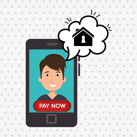 homely: man house smartphone speak vector illustration graphic