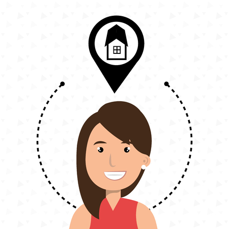 woman house pin location vector illustration graphic