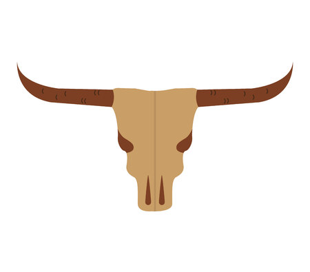 texas longhorn cattle: skull cow wild west icon graphic isolated vector Illustration