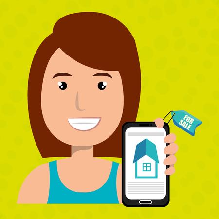 woman house smartphone rent vector illustration graphic Illustration