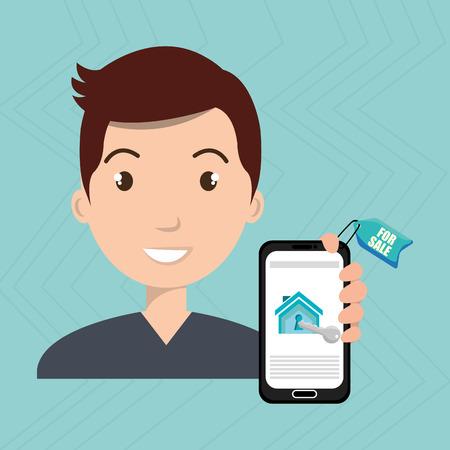 man house smartphone rent vector illustration graphic