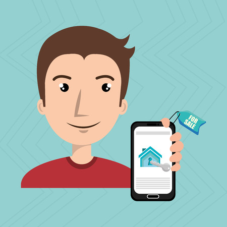 man house smartphone rent vector illustration graphic