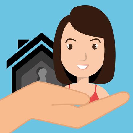 hand key: woman hand house key vector illustration