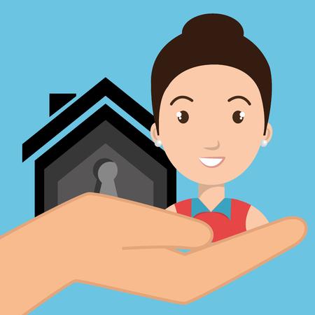 woman hand house key vector illustration eps 10