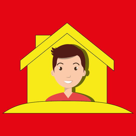 man house insurance red vector illustration graphic Illustration