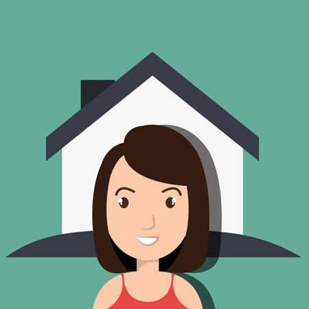front of house: woman house insurance red vector illustration Illustration