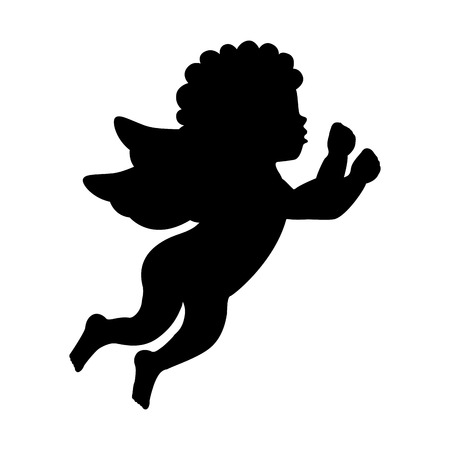 children of heaven: angel silhouette character icon vector illustration design