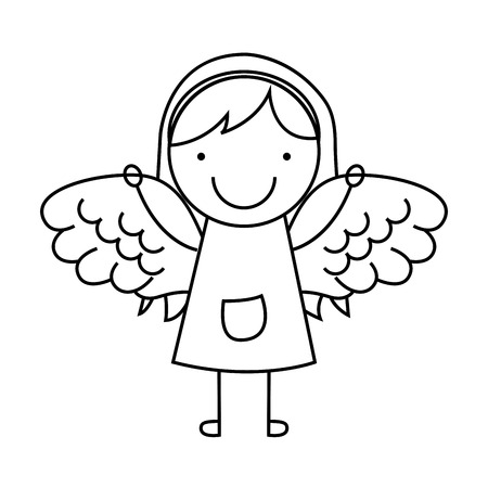angelic: angel girl character icon vector illustration design