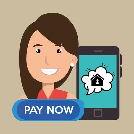 domicile: woman house smartphone speak vector illustration graphic