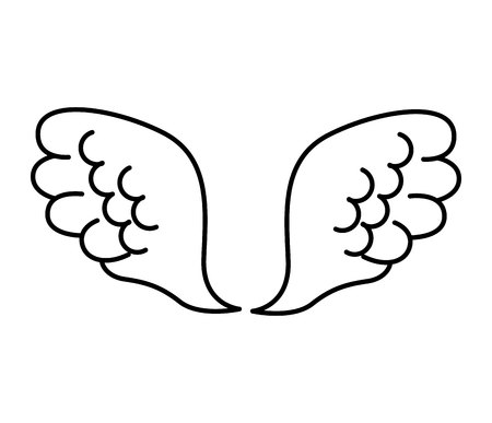 angelic: wings angel drawn icon vector illustration design