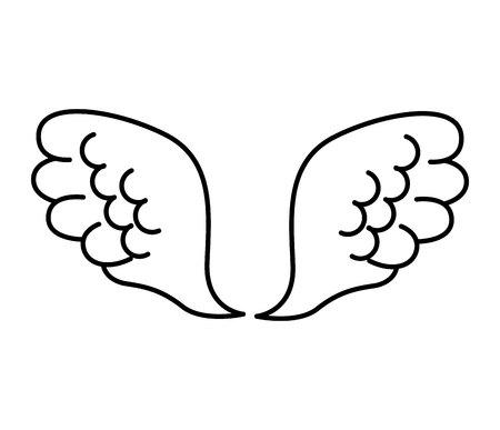 wings bird: wings angel drawn icon vector illustration design