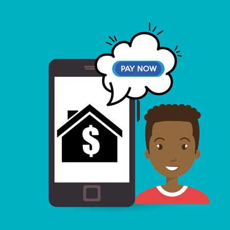 domicile: man house smartphone speak vector illustration graphic