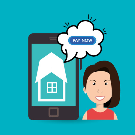 abode: woman house smartphone speak vector illustration graphic