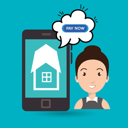 house call: woman house smartphone speak vector illustration graphic