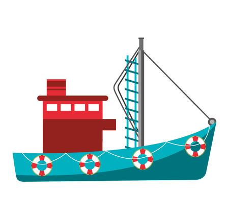 Vissersboot industrie pictogram vector illustratie ontwerp Stock Illustratie