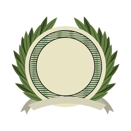 bills: emblem wreath bills icon vector illustration design Illustration