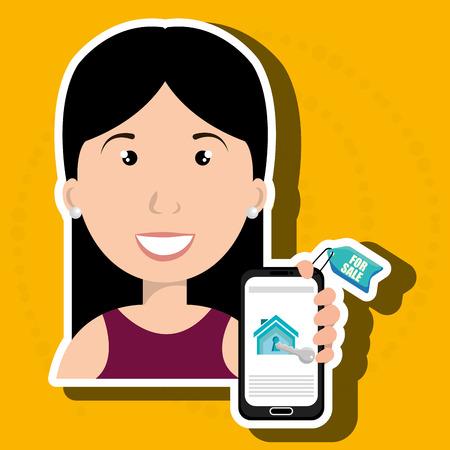 casa de alquiler de teléfonos inteligentes Mujer ejemplo gráfico del vector