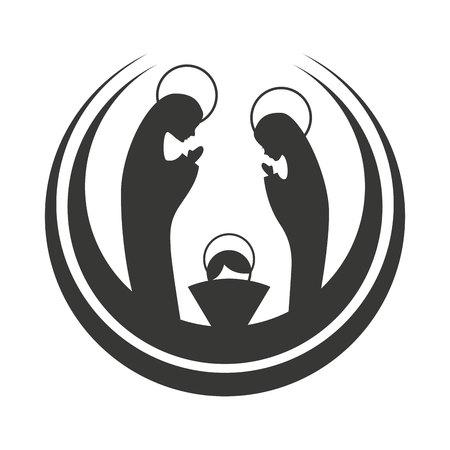 silhouet van de kerst-manger cijfer vectorillustratieontwerp