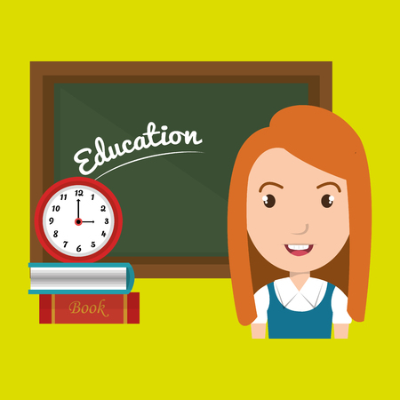 lady clock: student board books watch vector illustration Illustration