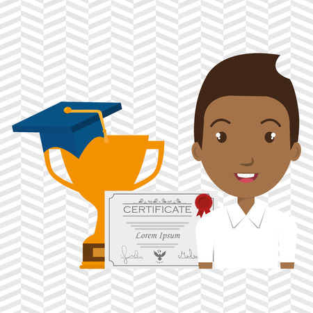 student graduation diploma trophy vector illustration