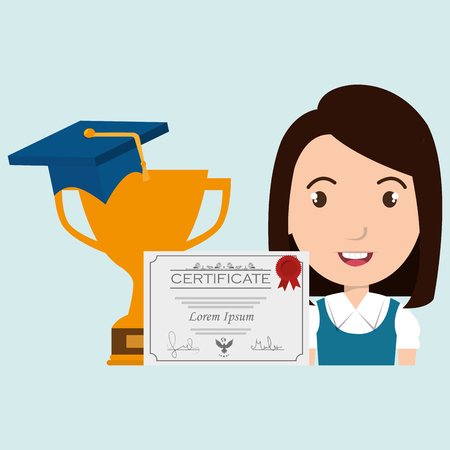 student woman diploma trophy vector illustration