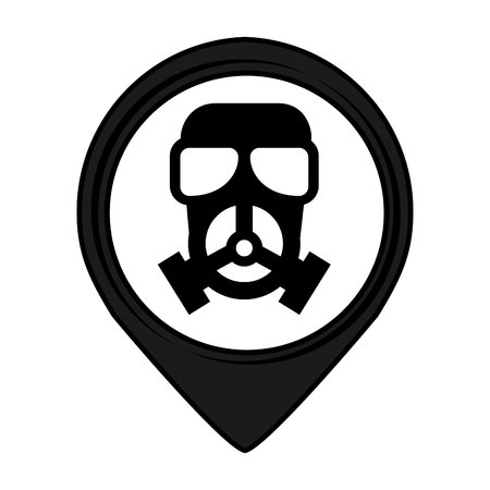 precaution: mask pin pointer caution signal icon vector illustration design Illustration