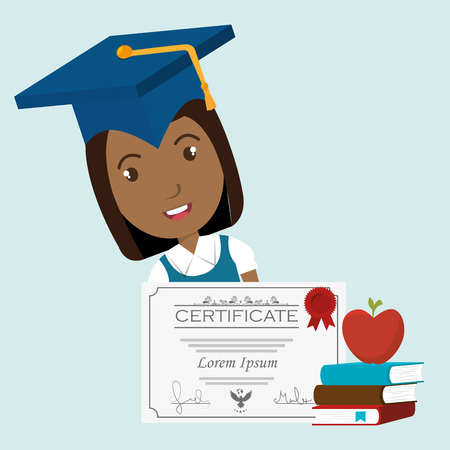 student graduation diploma book vector illustration