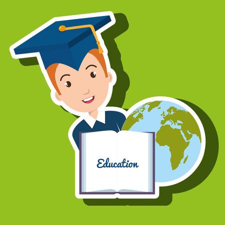 literacy: student graduation diploma world vector illustration