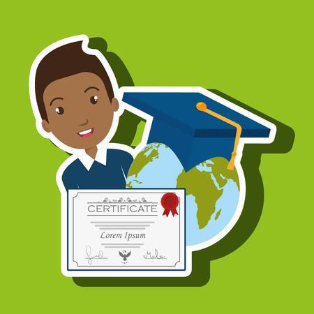 student graduation diploma world vector illustration