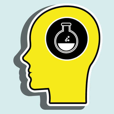 desing: silhouette head lab tube desing vector illustration