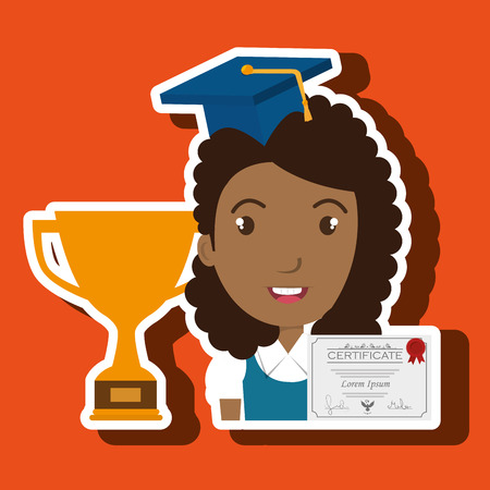 commencement: student woman diploma trophy vector illustration