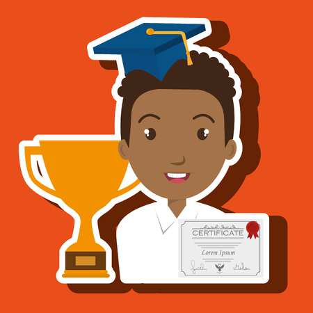 student graduation diploma trophy vector illustration