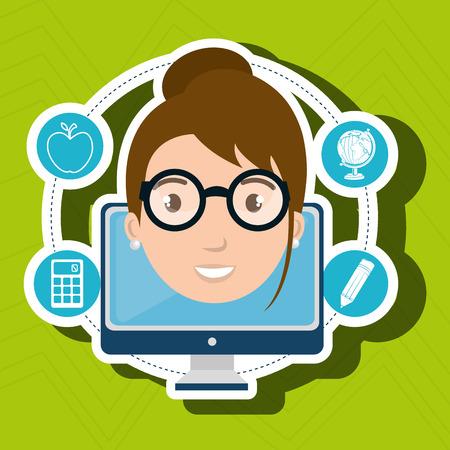 student pencil calculator laptop vector illustration
