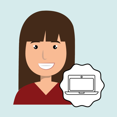 woman happy face laptop vector illustration