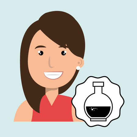 happy woman: woman happy face tube lab vector illustration
